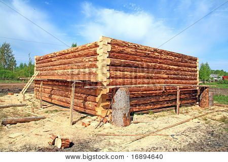 construction of the wooden building