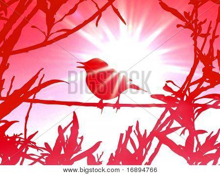 pássaro no ramo entre a folha