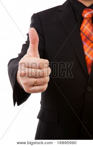 Businessman Is Pleased, Thumbs Up In Closeup
