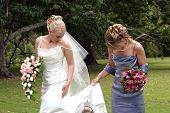 stock photo of matron  - Bride and bridesmaid walking is a park at a wedding - JPG