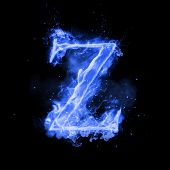 Fire letter Z of burning blue flame. Flaming burn font or bonfire alphabet text with sizzling smoke  poster
