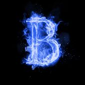 Fire letter B of burning blue flame. Flaming burn font or bonfire alphabet text with sizzling smoke  poster