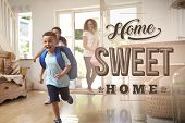 Excited Family At New Home Sweet Home poster