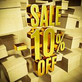 Gold 10 Percent Off Discount 3d Sign with Packaging Boxes Sale Banner Template, Special Offer 10% Of poster