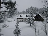 image of colorado high country  - Mountain home in the winter time right after a snow storm - JPG