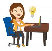 Businesswoman working on laptop on a new business idea. Caucasian happy woman having a business idea poster