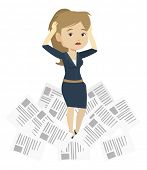 Business woman having a lot of paperwork. Young business woman surrounded by lots of papers. Busines poster