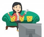 Happy gamer playing video game. Excited woman with console in hands playing video game at home. Woma poster