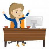 Successful business woman celebrating at workplace. Successful businesswoman celebrating business su poster