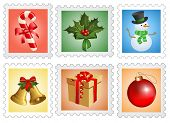 Christmas postage stamps.