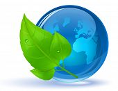 Globe and green leaves with drop of water. Eco Concept. Vector illustration.