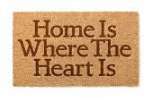 Home Is Where The Heart Is Welcome Mat Isolated On A White Background. poster