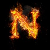 Fire letter N of burning flame. Flaming burn font or bonfire alphabet text with sizzling smoke and f poster