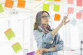 Creative businesswomen reading sticky notes on glass wall in office poster