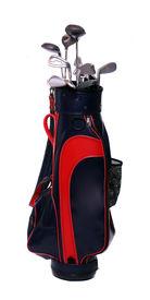 stock photo of golf bag  - Two color golf clubs bag  - JPG
