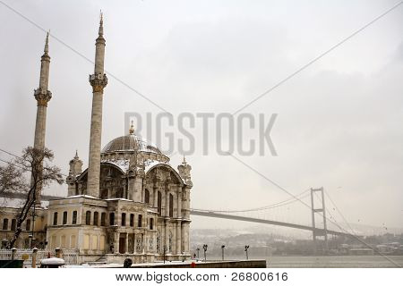 Bosphorus Bridge and Ortakoy Mosque in Istanbul Turkey