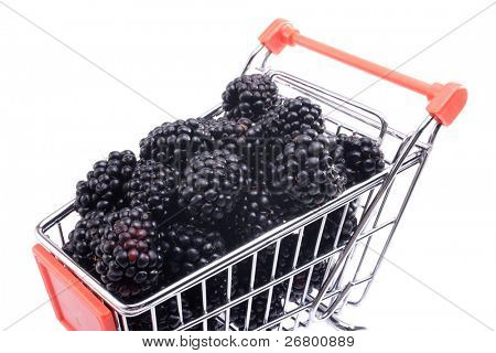 an image of several blackberries in a shopping cart