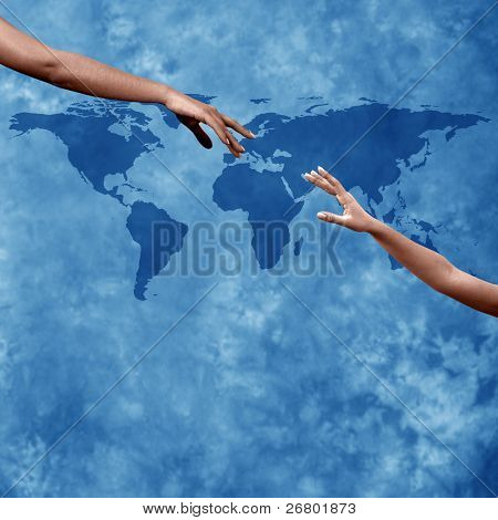 close up shot of hands reaching each other