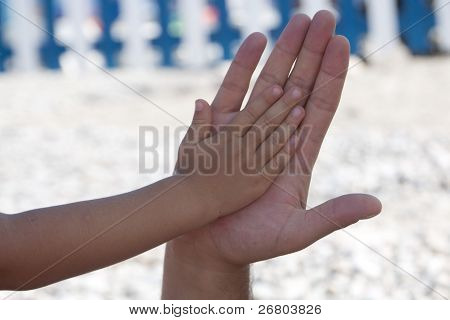 Child Hand Over Father's Hand