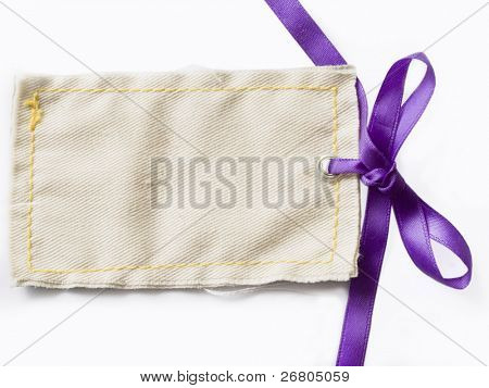 textile gift tag with saten bow