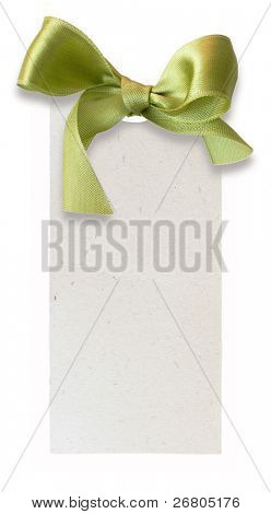 gift tag with green sateen bow