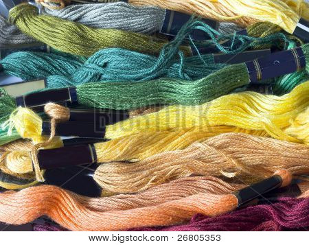 lines of colorful yarns