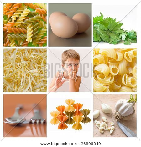 collage of pasta