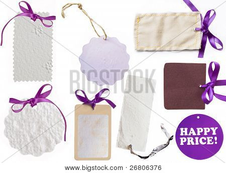 collection of  purple tags