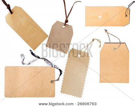 collection of price tag or address labels