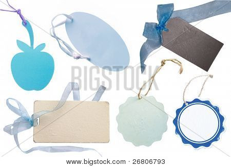 collection of blue tags