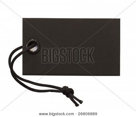 black tag with black string isolated on white
