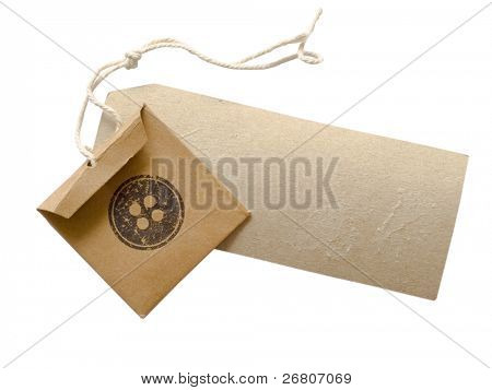 tag and paper bag with replacement buttons