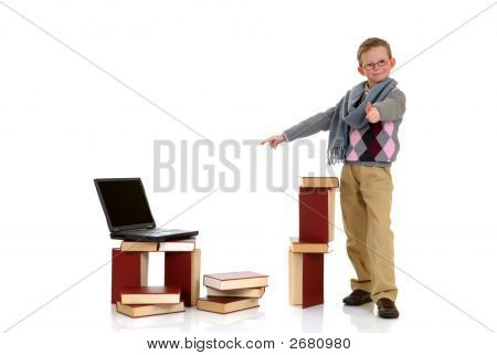 Eight Year Young Boy Studying