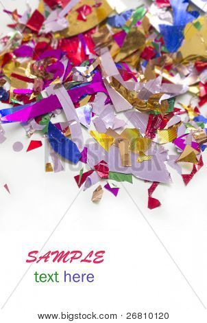 shiny, colorful confetti with the place for your text