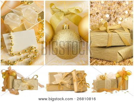 Christmas decoration with decorative balls and the gifts, golden arrangement