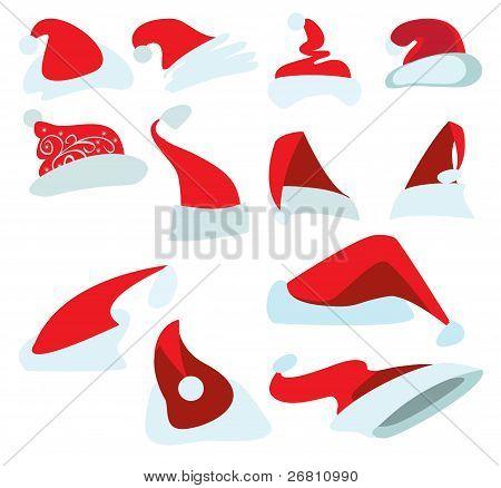 A Set Of Twelve Caps For Santa