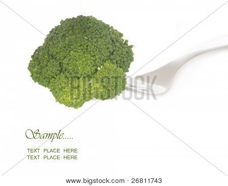 broccolli on the fork with place for your text