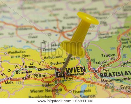 pin in the map, wien austria