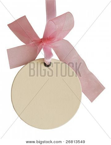 empty tag with beautiful pink bow isolated over white