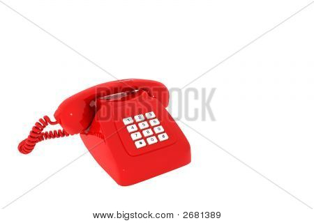 Antique Red Phone On A White Background Insulated 3D