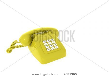 Antique Yellow Phone On A White Background Insulated 3D