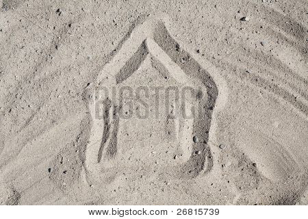 Childlike Drawing Of House In Sand
