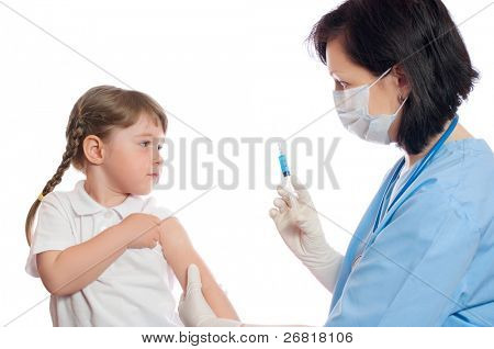 doctor does an inoculation to little girl