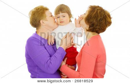 Small baby with mother and grandmother isolated