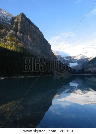 Lake Louise, Reflection Of The Left Side  Banff National Park, Alberta, Canada