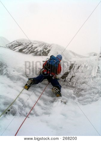 Ice Climber In Scotland