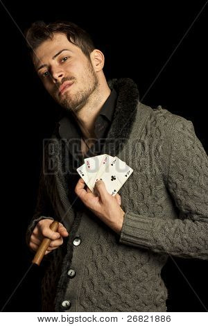 Young Man Holding Cards