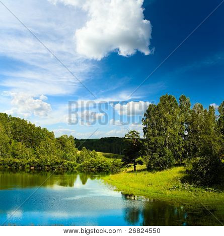 Summer landscape with lake