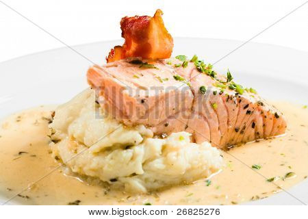roast ham, salmon and potato mash