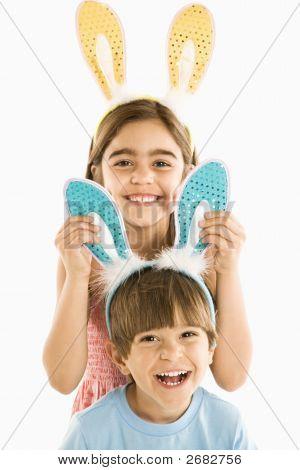Children In Bunny Ears.